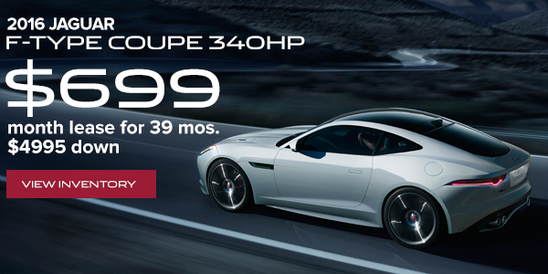 2016 Jaguar F-Type Coupe 340HP - $699/month lease for 39 months, $4995 down